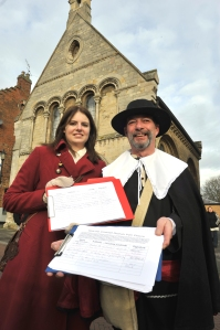 Lindsay Cassedy and Bob Pugh collecting signatures in Huntingdon on Saturday 18 January.